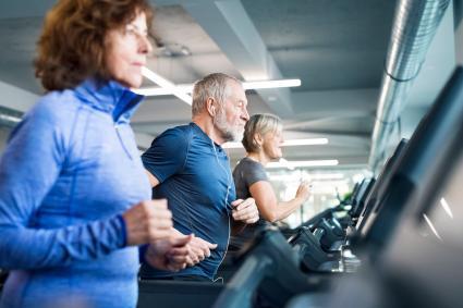 Seniors at fitness center