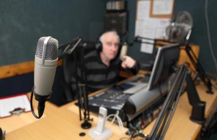 Man in radio station
