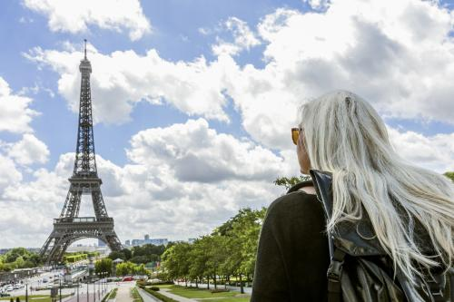 Senior woman at Eiffel Tower