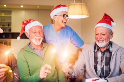 Old people celebrating Christmas