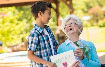 Loving grandmother with her grandson