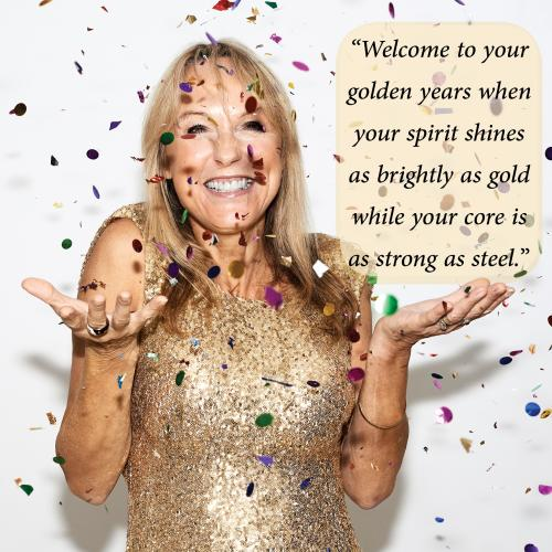 Middle aged woman celebrating in gold dress