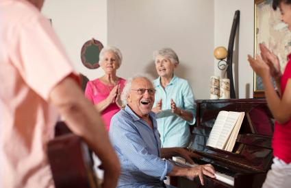 Elderly people making music