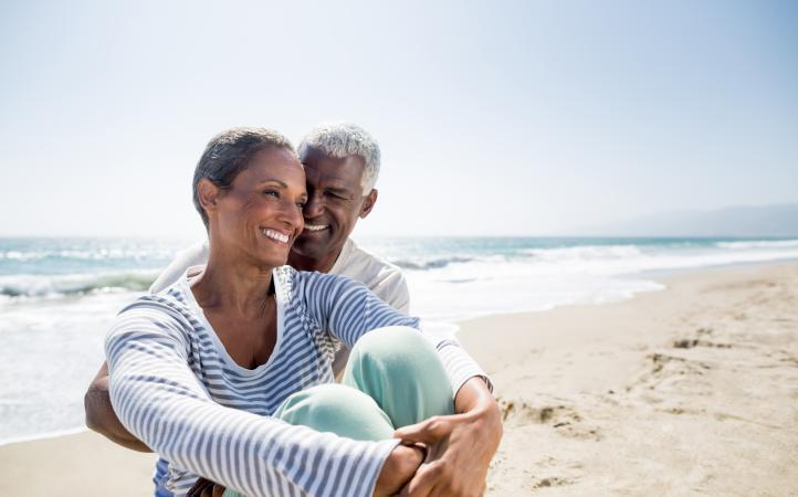 Senior couple sitting on beach