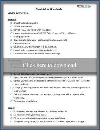 Printable checklist for snowbirds