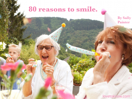 Seniors celebrating birthday party in garden and image quote about turning 80