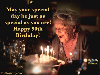 Elderly lady: Birthday celebration and iImage quote about turning 90