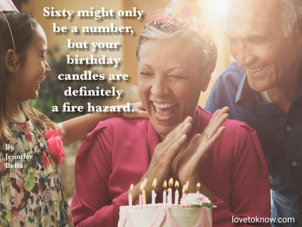 Grandparents and granddaughter celebrating birthday and turning 60 quote