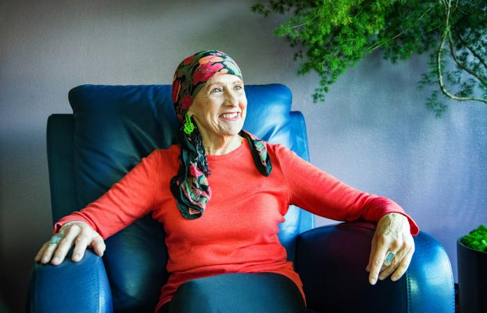 Senior woman on recliner chair