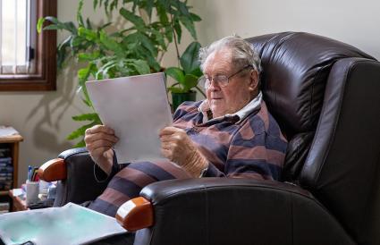 Senior man sitting in his recliner