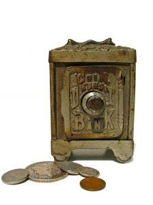 Image of an antique bank and coins