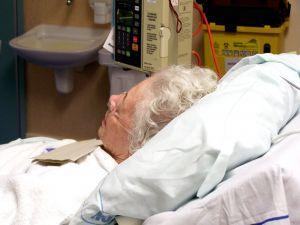 Pain management in progress for elderly hospital patient