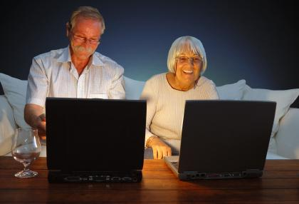 Seniors playing computer games
