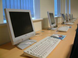 computer lab showing senior citizen education resources