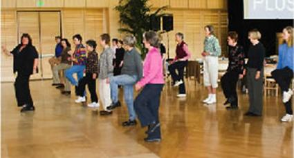 Members of the Lifelong Fitness Alliance in a group class