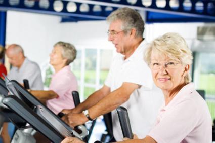 seniors on treadmills