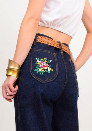 Floral Appliqued Jean Pockets