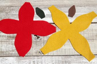 Felt cut outs of apple, pear and leaves.