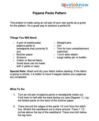 pajama pants printable pattern