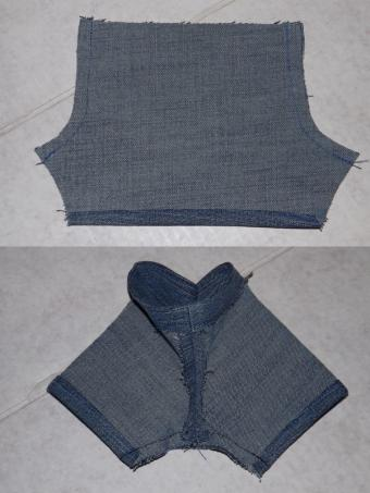 Sew front and back seams, inseam and crotch.