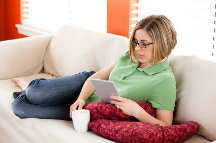 woman with ereader
