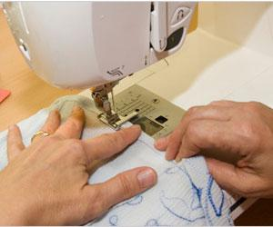 sewing on a table