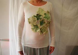Green Maple Leaf Art-Plique Shirt by Gisou Fashions