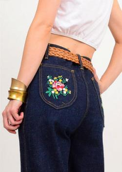 Floral Appliqued Jean Pockets