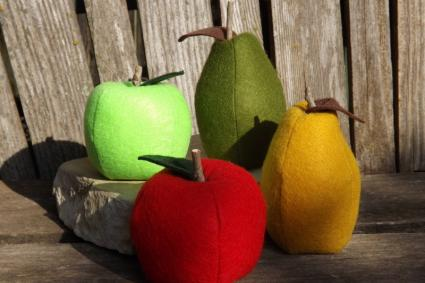 Finished felt apples and pears.