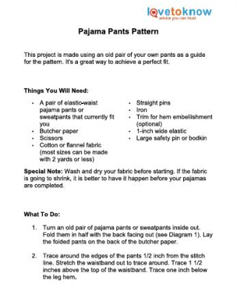 graphic regarding Printable Pajama Pants Pattern identify How toward Sew Straightforward Pajama Trousers LoveToKnow