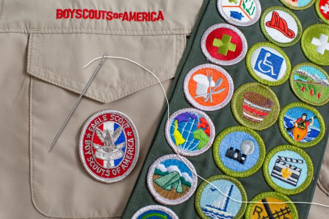 Boy Scout patches and sewing needle