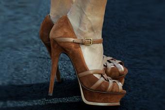 Actress Vanessa Hudgens wearing Saint Laurent