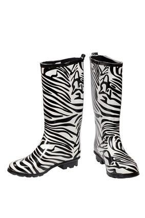 Women's Zebra Striped Rain Boot