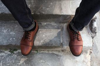 Selvedge jeans and retro shoes