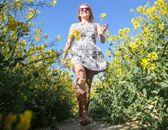 Floral dress and cowboy boots
