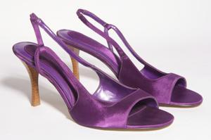 Pair of purple open-toe heels