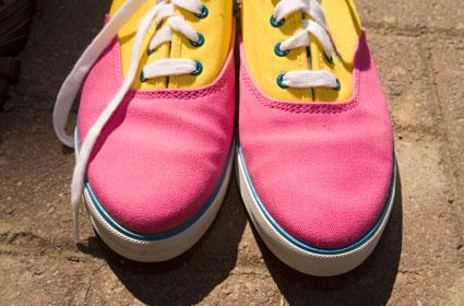 1980's pink yellow blue shoes