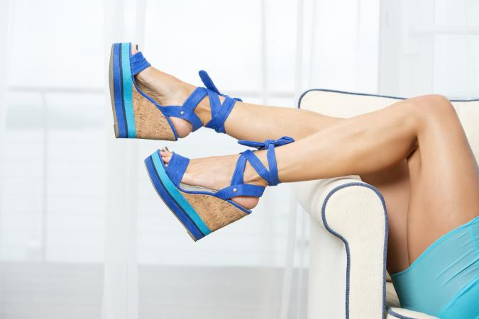 Blue wedge style High Heels