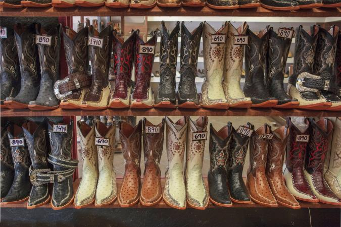 Cowboy boots for sale in shop