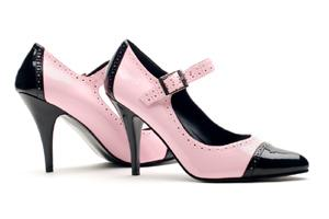 pink and black pumps
