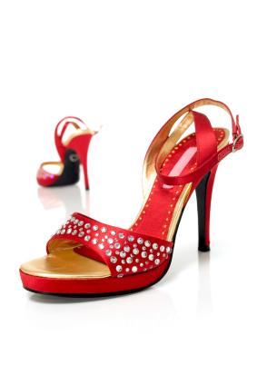 Pair of red stiletto heel shoes
