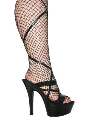 Leg with fishnet stocking and exotic dance shoe