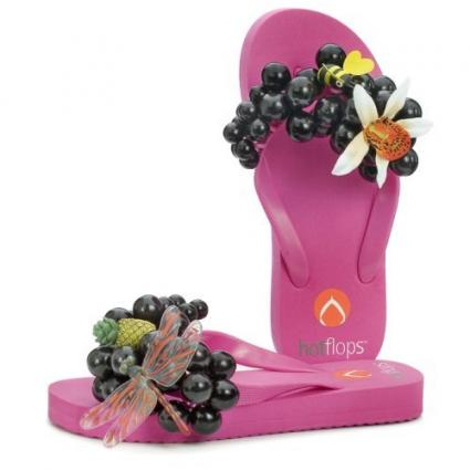 Purple flip flops with grapes and cute bugs