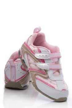 Kid's pink shoe with white Velcro fasteners