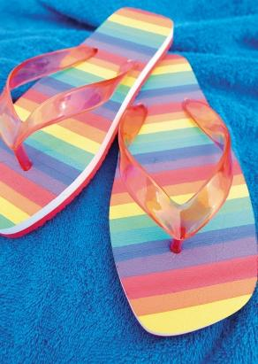 Pair of striped flip flops