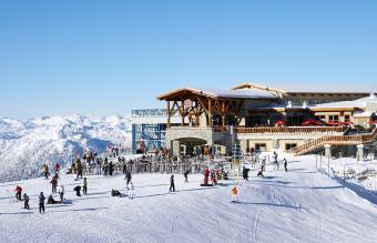 People outside ski resort