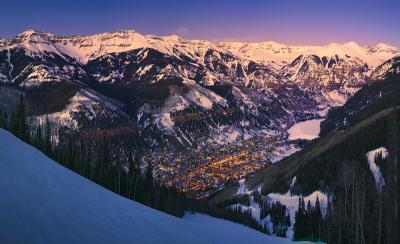 telluride ski resort at dusk
