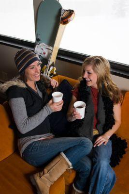 Image of female friends at a ski resort