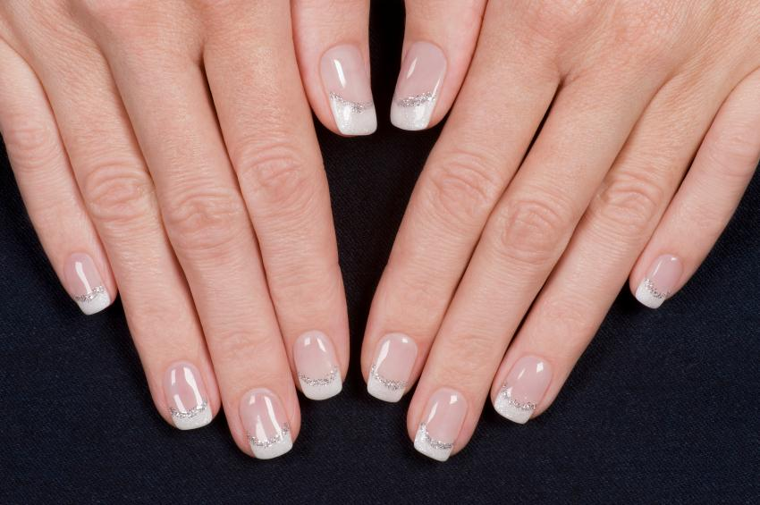 Pictures of simple nail art lovetoknow french nails with silver prinsesfo Image collections