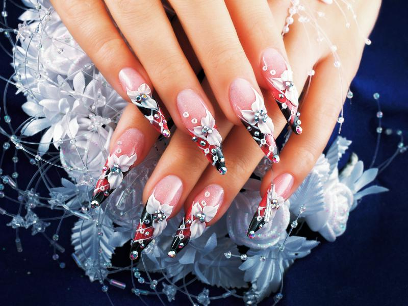 3D floral airbrushed nails with rhinestones - 3D Nail Art Designs Gallery LoveToKnow